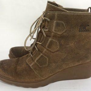 SOREL Joan of Artic Wedge Women's Suede Boots 10